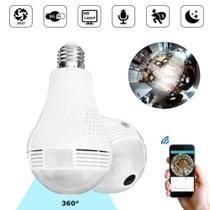 Camera Ip Seguraca Lampada Vr 360 Panoramica C/visão Noturna - Camera Lampada