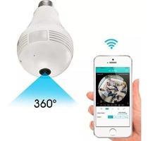 Camera Ip Seguraca Lampada Vr 360 Panoramica Espia Wifi V380 - Luatek