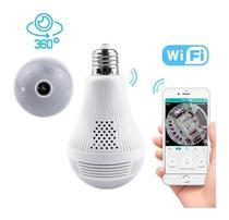 Camera Ip Segurança Lampada Panoramica Espia Wifi -
