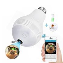 Camera ip segurança lampada vr 360 panoramica espiã wifi v380 completa - Gerl