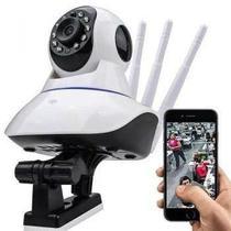 Câmera Ip Sem Fio 360 3 Antenas HD WiFi RJ45 Visão Noturna Alarme -