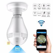 Camera Lampada Alta Definicao 360 Panoramica Espia Wifi Ip Seguraca Vr V380 - Fisheye