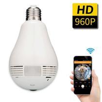 Câmera lâmpada espiã wifi 360 camera ip panorama - V360