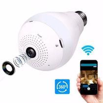 Câmera Lâmpada Espiã Wifi HD Ip Led Panorâmica Vr 360º com Áudio -
