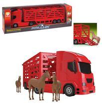 Caminhao boiadeiro pollux haras com 4 cavalos colors 60x13.5x18cm - Silmar