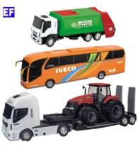 Caminhão Brinquedo Plataforma C/ Trator + Onibus Iveco +lixo - Usual Brinquedos
