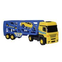 Caminhão cegonheira tork com 2 carrinhos, linha bob esponja em ação - Multibrink