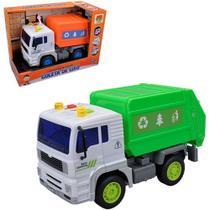 Caminhão Coleta de Lixo A Fricção Com Som e Luz A Bateria Na Caixa -