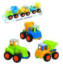 Caminhao construcao baby colors brinca bebe kit com 3 pecas wellkids - Wellmix