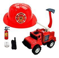 Caminhão De Bombeiro Grande Capacete Segurança Brinquedo Kit - Ark Toys