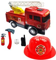 Caminhão De Bombeiros Grande Capacete Segurança Brinquedo - Diverplas