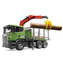Caminhão Florestal Scania R-Series com Grua Rotativa e 3 troncos - Bruder