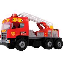 Caminhão Magic Toys Super Bombeiro com Capacete - 72 cm - Vermelho -