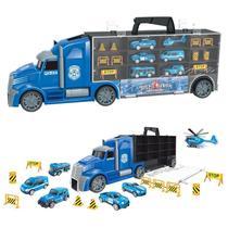 Caminhão Maleta Carreta Porta Carrinhos Hot 6 Veículos 10 Acessórios - Dm Toys