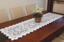 Caminho de Mesa Retangular em Renda Branco Com 1,38 x 38cm - Romance