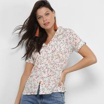 Camisa Adooro! Manga Curta Floral Feminina -