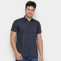 Camisa Aleatory Slim Estampada Manga Curta Masculina -