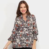 Camisa Angel City Floral Manga Longa Amarração Feminina -