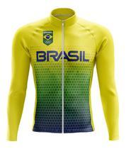 Camisa Brasil Manga Longa Ciclismo Dry Fit Bicicleta Mtb Ziper - Decole