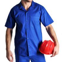 Camisa brim manga curta com botão uniforme profissional - Scudo