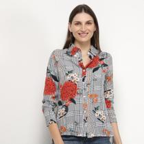 Camisa Charm Lady Xadez Floral Feminina -