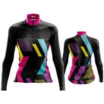 Camisa Ciclismo Feminina Manga Longa Abstrata Preta Dry Fit Proteção UV +50 - Pro Tour