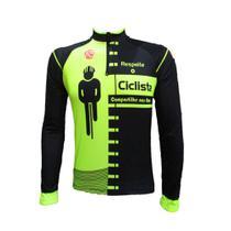 Camisa ciclismo fit respeite o ciclista amarelo fluor (m. longa) - Ativofast