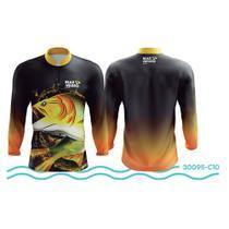 afa81d895 Camisa de Pesca Mar Negro Preto e Laranja UV 50+