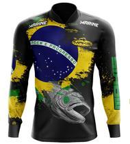 Camisa De Pesca Proteção Solar Uv50 Makis Fishing MK-03 Patriota -