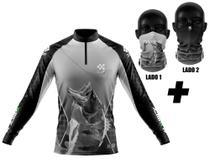 Camisa De Pesca Ziiip + Bandana Protecao Solar Cb020cz -