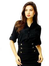 Camisa Feminina com Tule Bordado Kinara Preto 023 -