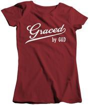 Camisa Feminina Evangélica Graced By God Agraciada Crist 026 - Dunose Estamparia
