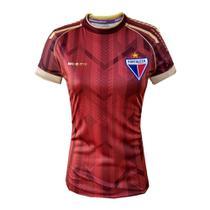 Camisa Feminina Fortaleza Escudetto Oficial Lançamento 2020 Escudo Bordado Vermelha Dourado -