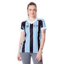 Camisa Feminina Umbro Grêmio Oficial 1 2021 Azul Celeste/Preto -