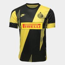 Camisa Inter de Milão Pré Jogo Champions Masculina - Preto e Amarelo -