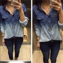Camisa Jeans Manga Longa Feminina - Rsl