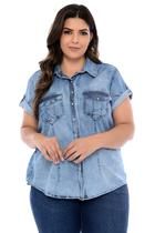 Camisa Jeans Plus Size Delavê Martingale - Cambos