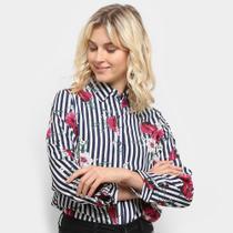 Camisa Listrada Sofia Fashion Floral Feminina -