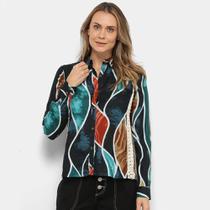 Camisa Malharia Nacional Estampada Detalhe Crochê Feminina -