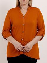 Camisa Manga 3/4 Plus Size Feminina Autentique Caramelo -