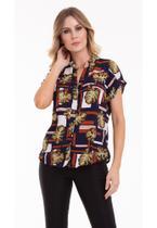 Camisa Manga Curta Estampada Folhagem - Kinara