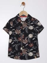 Camisa Manga Curta Floral Infantil Para Menino - Preto - Alakazoo