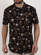 Camisa Manga Curta Masculina Preto/amarelo - Fico