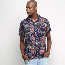 Camisa Manga Curta Pacific Blue Flowers Masculina -