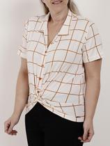 Camisa Manga Curta Plus Size Feminina Autentique Branco/caramelo -
