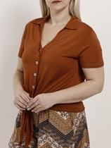Camisa Manga Curta Plus Size Feminina Autentique Caramelo -