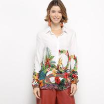 Camisa Manga Longa C  V Collection Barra Floral Feminina -
