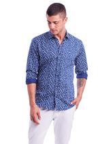 Camisa manga longa estampada sarja resort slim fit - HIGHSTIL