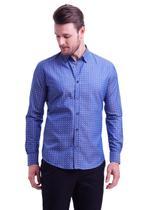 Camisa manga longa maquinetada fio tinto office slim fit - HIGHSTIL