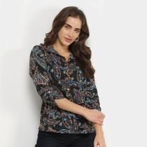 Camisa Marialicia Estampada Botões Feminina -